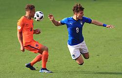 Italy U17's Edoardo Vergani and Netherlands U17's Liam Van Gelderen