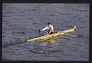 London. United Kingdom. Rory HENDERSON. 1990 Scullers Head of the River Race. River Thames, viewpoint Chiswick Bridge Saturday 07.04.1990<br /> <br /> [Mandatory Credit; Peter SPURRIER/Intersport Images] 19900407 Scullers Head, London Engl