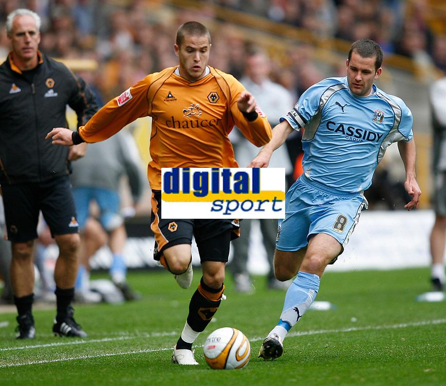 Photo: Steve Bond.<br />Wolverhampton Wanderers v Coventry City. Coca Cola Championship. 06/10/2007. Michael Kightly (L) takes on Michael Doyle