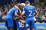 AFC Wimbledon striker Joe Pigott (39) celebrating after scoring goal to make it 2-1\ during the EFL Sky Bet League 1 match between AFC Wimbledon and Oldham Athletic at the Cherry Red Records Stadium, Kingston, England on 21 April 2018. Picture by Matthew Redman.