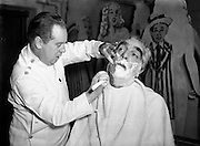 """Mr Noel Purcell having his beard removed for Pantomime - Special for Radio Review.23/12/1955..Noel Purcell (23 December 1900 - 3 March 1985) was an Irish film and television actor...Purcell began his show business career at the age of 12 in Dublin's Gaiety Theatre. Later, he toured Ireland in a vaudeville act with Jimmy O'Dea..Stage-trained in the classics in Dublin, Purcell moved into films in 1934. He appeared in Captain Boycott (1947) and as the elderly sailor whose death marooned the lovers-to-be in the first sound film version of The Blue Lagoon (1949). Purcell played a member of Captain Ahab's crew in Moby Dick (1956), a gameskeeper in The List of Adrian Messenger (1963), and a barman in The Mackintosh Man (1973), all films directed by John Huston..In 1955, he was an off-and-on regular on the British filmed TV series The Buccaneers (released to American TV in 1956), and Purcell narrated a Hibernian documentary, Seven Wonders of Ireland (1959). In 1962, he portrayed the lusty William McCoy in Lewis Milestone's Mutiny on the Bounty. .Purcell also gained some recognition as a singer. Shortly after World War II, songwriter Leo Maguire composed """"The Dublin Saunter"""" for him. He performed the song live for many years and later recorded it for the Glenside label. However, the recording was not a hit. As Purcell recalled many years later, """"I don't think one person in the world bought it."""" In 1981, he recorded a spoken word version of Pete St. John's """"Dublin in the Rare Old Times""""..In June 1984, Purcell was given the Freedom of the City of Dublin. Nine months later, he died in his native city at the age of 84.."""