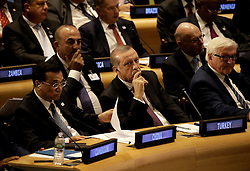 September 20, 2016 - New York, New York, United States of America - (L to R) The Premier of the State Council of the People's Republic of China, Li Keqiang, the President of Turkey President Recep Tayyip Erdogan and the German Federal Minister for Foreign Affairs, Frank-Walter Steinmeier attend a Leaders Summit for Refugees during the United Nations 71st session of the General Debate at the United Nations General Assembly at United Nations headquarters in New York, New York, USA, 20 September 2016..Credit: Peter Foley / Pool via CNP (Credit Image: © Peter Foley/CNP via ZUMA Wire)
