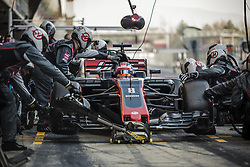 March 10, 2017 - Montmelo, Catalonia, Spain - The team of Haas changes the wheels of ROMAIN GROSJEAN's (FRA) car at the pit stop at day 8 of Formula One testing at Circuit de Catalunya (Credit Image: © Matthias Oesterle via ZUMA Wire)