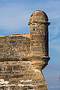 A garrita at Castillo de San Marcos in St. Augustine, Florida. St Augustine is the oldest city in America.