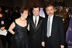 Left to right, Andy Serkis, his wife Lorraine Asbourne and Christoph Waltz at the Orange BAFTA's Nominees party held at Asprey, 165 New Bond Street, London on 20th February 2010.