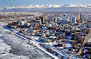 Anchorage the largest city in Alaska on the shores of Cook Inlet overlooking the Aaska and Chugach mountain ranges has a population of 275000 people,000 people