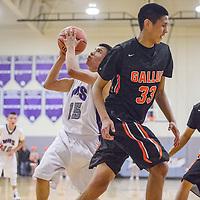 Miyamura Patriot Chandler Charles (15) gets clear of the Gallup Bengal defense for a shot Tuesday at Miyamura High School.