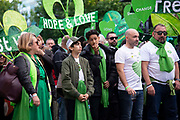 Family and friends of the victims who lost their lives in the Grenfell Tower block fire, take part in a silent walk to mark the two-year anniversary on 14th June 2019 in West London, United Kingdom. The 24-story housing block was consumed by flames in the early hours of June 14, 2017 causing 72 deaths, including those of two victims who later died in hospital.