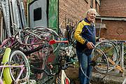 Italy, Capannori, cycle shop at the Daccapo warehouse, Agostino della Bidia