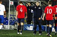 Fotball , 10. oktober 2011 , U21  EM-kvalifisering<br />Norge - England 1-2<br />Euro qual. U21<br />Norway - England<br />Per Joar Hansen ,trener Norge og spilleren depper etter tap