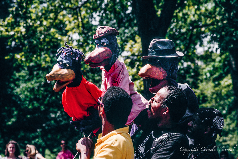Performance of the Crowtations in Central Park, New York City, 1992.