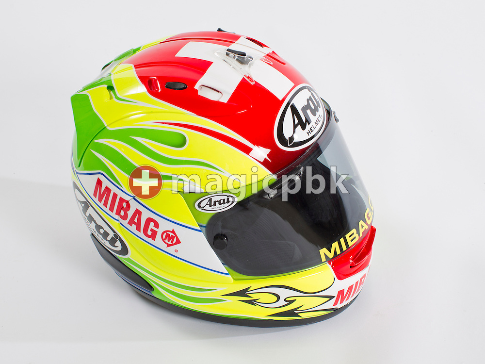 The helmet of Moto2 class motorcycle rider Dominique AEGERTER of Switzerland is pictured during a portrait session in a studio in Rohrbach in the canton of Berne, Switzerland, Wednesday, June 20, 2012. (Photo by Patrick B. Kraemer / MAGICPBK)