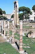 Ruins of the Temple of Castor and Pollux. The Forum, Rome.