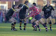 Gloucester, Gloucestershire, UK., 04.01.2003, Wasp's Simon SHAW, hold's off, Junior PARAMORE, [R] Lawrence DALLAGLIO, during, Zurich Premiership Rugby match, Gloucester vs London Wasps,  Kingsholm Stadium,  [Mandatory Credit: Peter Spurrier/Intersport Images],