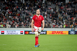 Wales' Alun Wyn Jones appears dejected as they leave the pitch after the final whistle of the 2019 Rugby World Cup bronze final match at Tokyo Stadium.