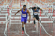 Jason Richardson  of the USA wins the 110m hurdles heat during the Sainsbury's Anniversary Games at the Queen Elizabeth II Olympic Park, London, United Kingdom on 24 July 2015. Photo by Phil Duncan.