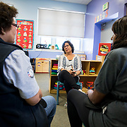 Jumpstart volunteer Lydia Sussman, a retired school teacher, supervising, coordinating, and working with adult volunteers. Lydia discusses ways to work with the young children with her fellow volunteers at a Jumpstart program in East Los Angeles on Thursday, April 27, 2017. With her, clockwise, are Carmen Hernandez, Angie Garner, Ester Moralde and Jumpstart Site Manager Kayla Weems.