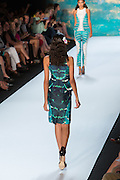 Aqua and green sleeveless dress in a marine-inspired print. By Monique Lhuillier at Spring 2013 Fall Fashion Week in New York.