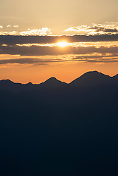 Silhouette of mountains in alpine landscape during sunrise, Zillertal, Tyrol, Austria
