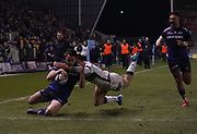 Sale Sharks centre Luke James runs in for a try during a Gallagher Premiership Rugby Union match, won by Sharks 39-0,  Friday, Mar. 6, 2020, in Eccles, United Kingdom. (Steve Flynn/Image of Sport)