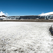 Thick fields of ice on the plateau near Crater Camp (18,810) feet, just below Kibo Summit, on Mt Kilimanjaro.