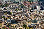 Nederland, Noord-Brabant, Eindhoven, 27-05-2013;   Centrum binnenstad Eindhoven, met de Catharinekerk aan het Catharinapleinaan het begin van het Stratumseind, en de koepels van het overdekt winkelcentrum de Heuvel galerie en de Vestdijk. Rechts in beeld woontoren Admirant aan de Nieuwe Emmasingel, hoogste gebouw in de stad.<br /> Center of the city of Eindhoven, shopping mall Heuvel galerie.<br /> luchtfoto (toeslag op standard tarieven);<br /> aerial photo (additional fee required);<br /> copyright foto/photo Siebe Swart