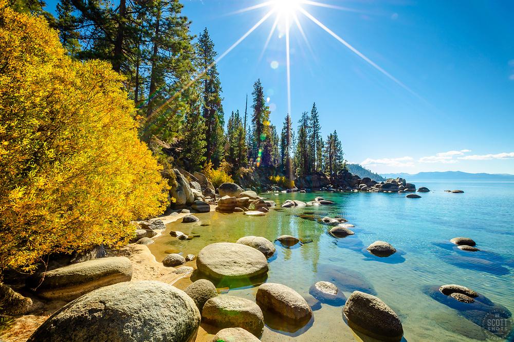 """Secret Cove in Autumn 5"" - Photograph of fall foliage along the shore at Secret Cove, Lake Tahoe."
