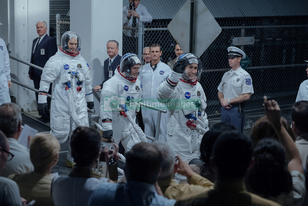"""(L to R, Foreground): COREY STOLL as Buzz Aldrin, LUKAS HAAS as Mike Collins and RYAN GOSLING as Neil Armstrong in """"FIRST MAN."""" (2018) Universal"""