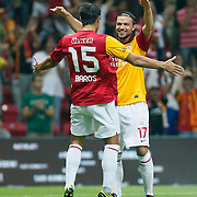 Galatasaray's Tomas UJFALUSI (R) during their Friendly soccer match Galatasaray between Liverpool at the TT Arena at Arslantepe in Istanbul Turkey on Saturday 28 July 2011. Photo by TURKPIX