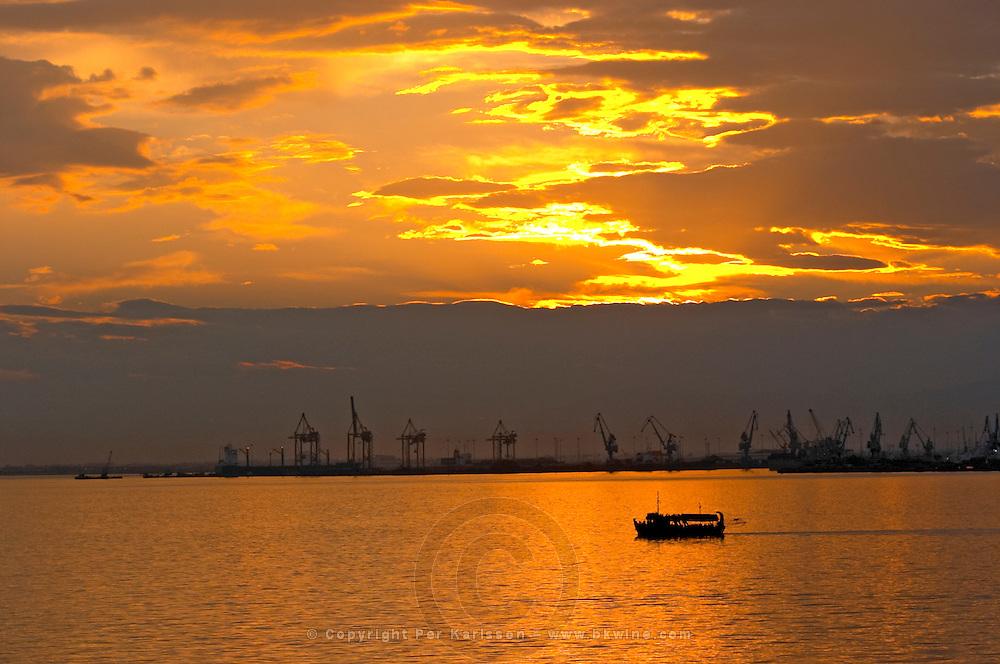 Sunset over the harbour. Thessaloniki, Macedonia, Greece