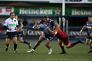 Nick Wiliams of Cardiff Blues is tackled by Robin Copeland of Munster. Guinness Pro14 rugby match, Cardiff Blues v Munster Rugby at the Cardiff Arms Park in Cardiff, South Wales on Saturday 17th February 2018.<br /> pic by Andrew Orchard, Andrew Orchard sports photography.