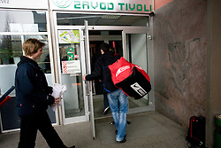 Ziga Jeglic at first practice of Slovenian National Ice hockey team before World championship of Division I - group B in Ljubljana, on April 5, 2010, in Hala Tivoli, Ljubljana, Slovenia.  (Photo by Vid Ponikvar / Sportida)