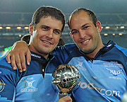 SOWETO, South Africa, 29 May 2010. Morne Steyn and Fourie du Preez of the Bulls with the Super 14 Cup after winning it for the 3rd time during the Super 14 FINAL match between the Bulls and the Stormers at Orlando Stadium in Soweto, South Africa on 29 May 2010.<br /> Photographer : Anton de Villiers / SPORTZPICS