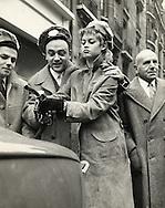 """Paris 1959.<br /> Brigitte Bardot and George Guétary promoting a Renault car called """"La Floride""""<br /> <br /> Paris 1959 .<br /> Brigitte Bardot et George Guétary durant le lancement d'une voiture Renault appelé """" La Floride"""""""