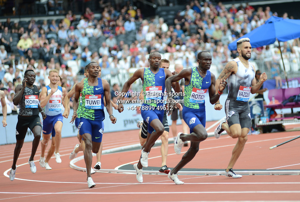 Ferguson Cheruiyot Rotich competes in the men's 800m during the IAAF Diamond League at the Queen Elizabeth Olympic Park London, England on 20 July 2019.