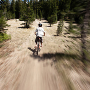 Mountain biking on Mammoth Mountain in the Eastern Sierra's.