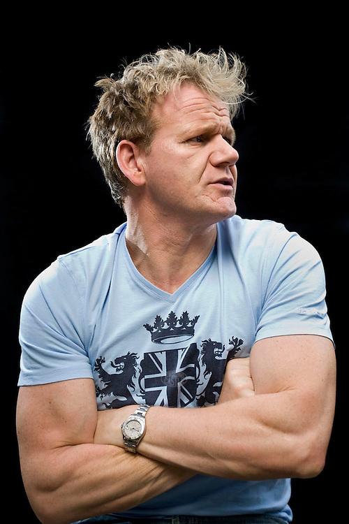 2008Photo© Tom Wagner .Portrait of Gordon Ramsay, an award winning chef who is now a brand name. As a chef, his Michelin star restaurants are known worldwide. He's a TV star of several programs, cook book writer, entrepreneur, business troubleshooter,  and is photographed in his TV studio kitchen at his home in London, England...www.tomwagnerphoto.com