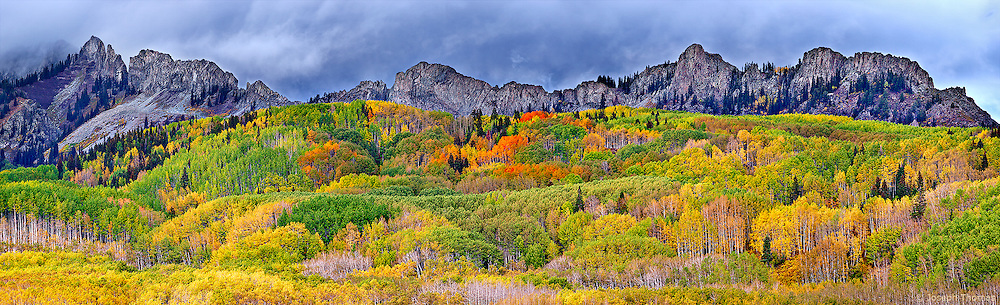 """A carpet of aspen envelops the hills beneath a jagged ridgeline known as """"The Dyke"""" in the Ruby Range."""
