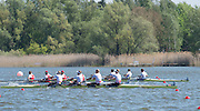Brandenburg. GERMANY. Men's Four. GBR M4- Bow Alex GREGORY, Mo SBIHI, George NASH and Constantine LOULOUDIS.<br /> 2016 European Rowing Championships at the Regattastrecke Beetzsee<br /> <br /> Sunday  08/05/2016<br /> <br /> [Mandatory Credit; Peter SPURRIER/Intersport-images]