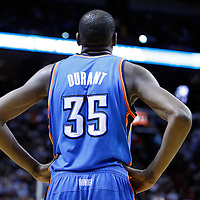 16 March 2011: Oklahoma City Thunder small forward Kevin Durant (35) is seen during the Oklahoma City Thunder 96-85 victory over the Miami Heat at the AmericanAirlines Arena, Miami, Florida, USA.