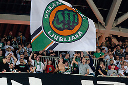 Fan group Green Dragons during basketball match between KK Union Olimpija (SLO) and Power E. Valencia (SPA) in Group D of Turkish Airlines Euroleague, on November 17, 2010 in Arena Stozice, Ljubljana, Slovenia. (Photo By Matic Klansek Velej / Sportida.com)
