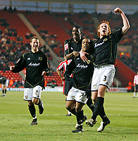 MK DONS players celebrate their equalizer<br /> <br /> <br /> SOUTHAMPTON V MK DONS FA CUP THIRD RND 7.1.06 <br /> <br /> PHOTO SEAN RYAN FOTOSPORTS INTERNATIONAL