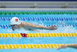 JAKARTA, Aug. 19, 2018  Li Zhuhao of China competes during Men's 200m Butterfly Final in the 18th Asian Games in Jakarta, Indonesia, Aug. 19, 2018. Li won the bronze medal. (Credit Image: © Fei Maohua/Xinhua via ZUMA Wire)