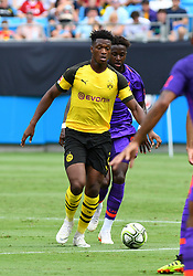 July 22, 2018 - Charlotte, NC, U.S. - CHARLOTTE, NC - JULY 22: Borussia Dortmund defender Dan-Axel Zagadou (2) handles the ball on the pitch during an International Champions Cup match between LiverPool FC and Borussia Dortmund on July 22, 2018 at Bank Of America Stadium in Charlotte,NC.(Photo by Dannie Walls/Icon Sportswire) (Credit Image: © Dannie Walls/Icon SMI via ZUMA Press)