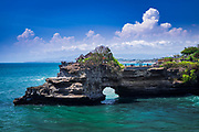 Sea arch at Tanah Lot Temple, Bali, Indonesia