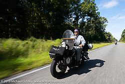 Jeff Milburn riding his Class II 1937 Harley-Davidson WL 750cc Flathead in the Cross Country Chase motorcycle endurance run from Sault Sainte Marie, MI to Key West, FL. (for vintage bikes from 1930-1948). 287 mile ride of Stage-8 from Tallahassee to Lakeland, FL USA. Friday, September 13, 2019. Photography ©2019 Michael Lichter.