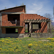 Unfinished house from the early 1990's near Drmeni, FYR Macedonia