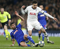 LONDON, Nov. 27, 2019  Tottenham Hotspur's Dele Alli (R) vies with Olympiakos' Yassine Meriah during the UEFA Champions League Group B match at the Tottenham Hotspur Stadium in London, Britain on Nov. 26, 2019..FOR EDITORIAL USE ONLY. NOT FOR SALE FOR MARKETING OR ADVERTISING CAMPAIGNS. NO USE WITH UNAUTHORIZED AUDIO, VIDEO, DATA, FIXTURE LISTS, CLUB/LEAGUE LOGOS OR ''LIVE'' SERVICES. ONLINE IN-MATCH USE LIMITED TO 45 IMAGES, NO VIDEO EMULATION. NO USE IN BETTING, GAMES OR SINGLE CLUB/LEAGUE/PLAYER PUBLICATIONS. (Photo by Matthew Impey/Xinhua) (Credit Image: © Han Yan/Xinhua via ZUMA Wire)