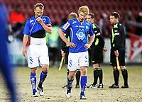 Fotball , 8. april 2013 , Adeccoligaen , 1. divisjon<br /> Fredrikstad - Hødd 3-2<br /> Depper etter tap , Jesper Tørnquist og Sivert Heltne Nilsen (th) , Hødd