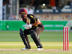 Somerset's Corey Anderson ducks under a bouncer<br /> <br /> Photographer Simon King/Replay Images<br /> <br /> Vitality Blast T20 - Round 1 - Somerset v Gloucestershire - Friday 6th July 2018 - Cooper Associates County Ground - Taunton<br /> <br /> World Copyright © Replay Images . All rights reserved. info@replayimages.co.uk - http://replayimages.co.uk